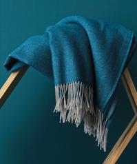 Plaid KATMANDOU bleu paon Blanc des Vosges
